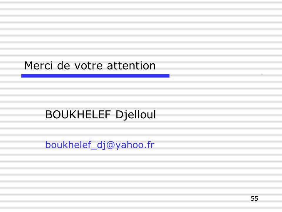 55 Merci de votre attention BOUKHELEF Djelloul boukhelef_dj@yahoo.fr
