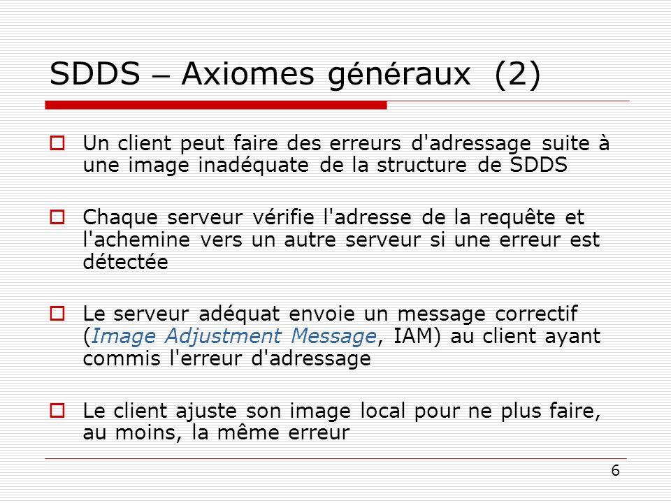 6 SDDS – Axiomes g é n é raux (2) Un client peut faire des erreurs d'adressage suite à une image inadéquate de la structure de SDDS Chaque serveur vér