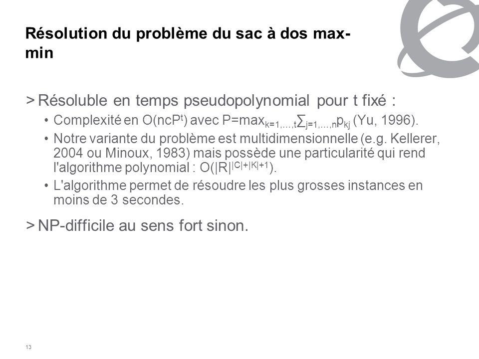 13 Résolution du problème du sac à dos max- min >Résoluble en temps pseudopolynomial pour t fixé : Complexité en O(ncP t ) avec P=max k=1,…,t j=1, …,n