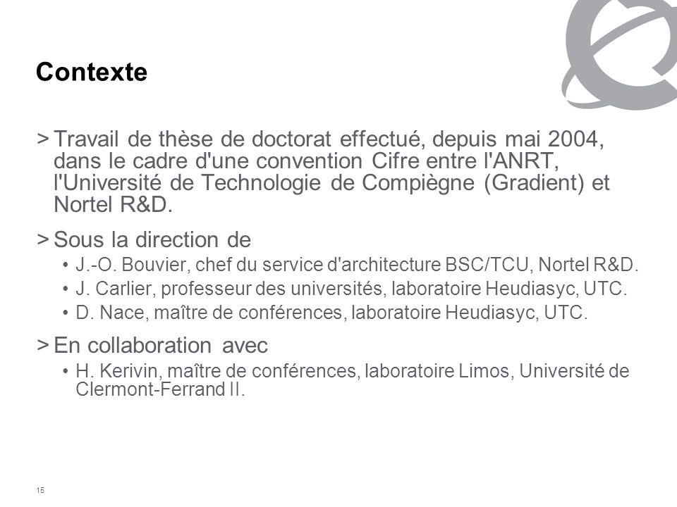 15 Contexte >Travail de thèse de doctorat effectué, depuis mai 2004, dans le cadre d'une convention Cifre entre l'ANRT, l'Université de Technologie de