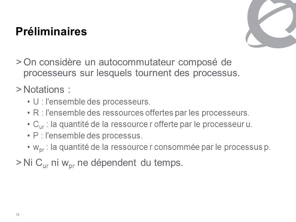 16 Préliminaires >On considère un autocommutateur composé de processeurs sur lesquels tournent des processus. >Notations : U : l'ensemble des processe