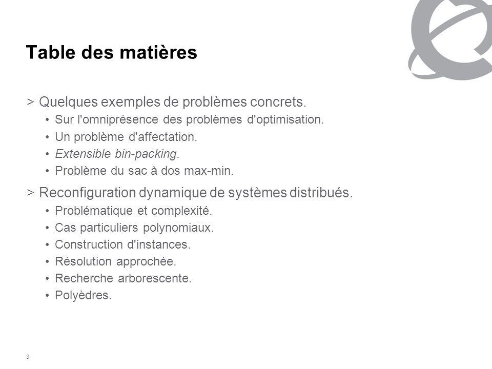 3 Table des matières >Quelques exemples de problèmes concrets. Sur l'omniprésence des problèmes d'optimisation. Un problème d'affectation. Extensible
