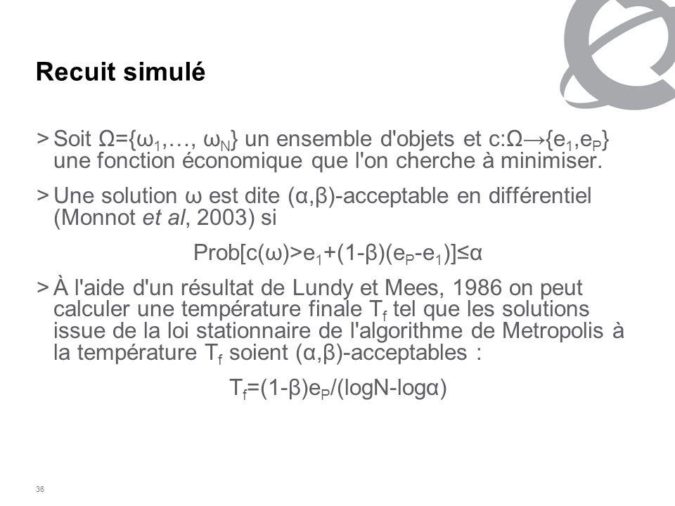 36 Recuit simulé >Soit Ω={ω 1,…, ω N } un ensemble d'objets et c:Ω{e 1,e P } une fonction économique que l'on cherche à minimiser. >Une solution ω est