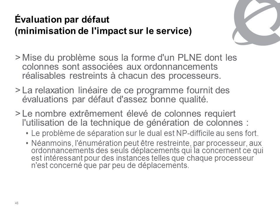 46 Évaluation par défaut (minimisation de l'impact sur le service) >Mise du problème sous la forme d'un PLNE dont les colonnes sont associées aux ordo