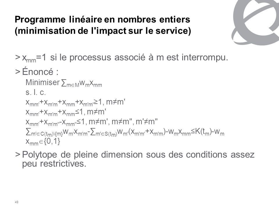 49 Programme linéaire en nombres entiers (minimisation de l'impact sur le service) >x mm =1 si le processus associé à m est interrompu. > Énoncé : Min