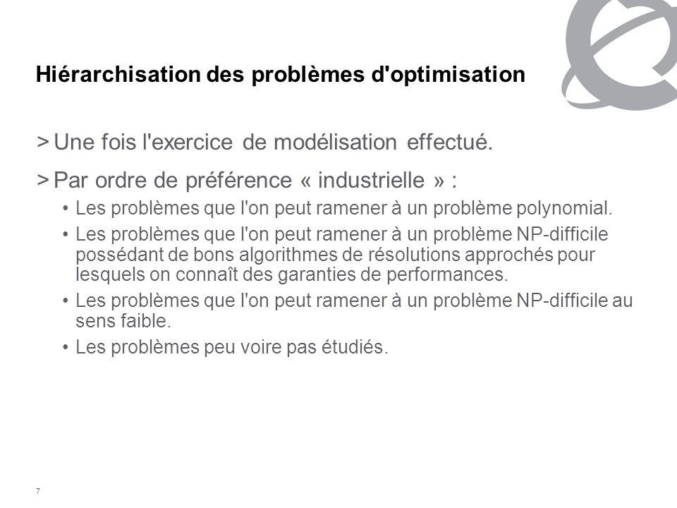 7 Hiérarchisation des problèmes d'optimisation >Une fois l'exercice de modélisation effectué. >Par ordre de préférence « industrielle » : Les problème