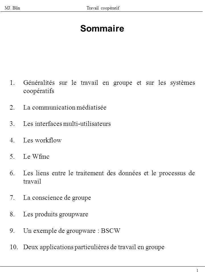 MJ. BlinTravail coopératif 1 Sommaire 1.Généralités sur le travail en groupe et sur les systèmes coopératifs 2.La communication médiatisée 3.Les inter
