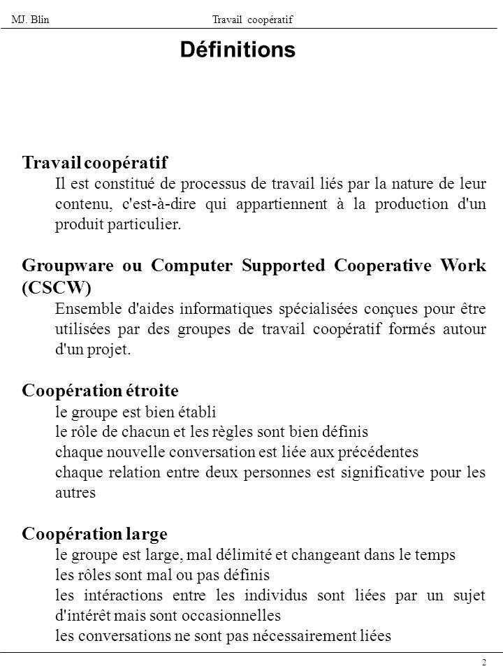 MJ. BlinTravail coopératif 2 Définitions Travail coopératif Il est constitué de processus de travail liés par la nature de leur contenu, c'est-à-dire
