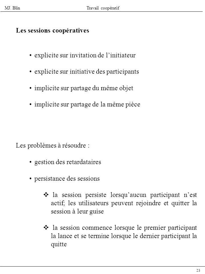 MJ. BlinTravail coopératif 23 Les sessions coopératives explicite sur invitation de linitiateur explicite sur initiative des participants implicite su