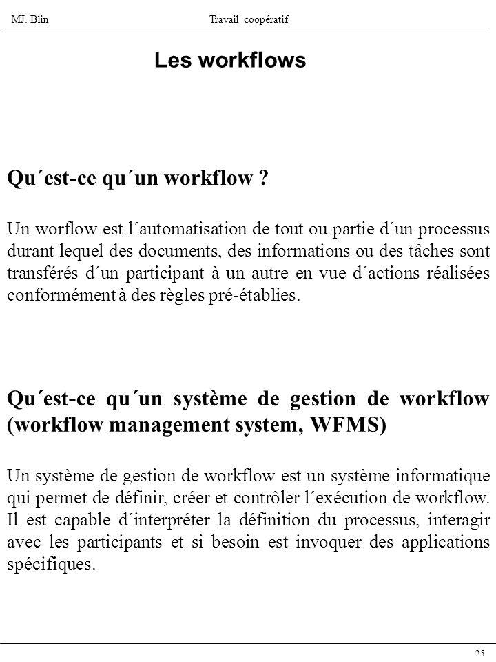MJ. BlinTravail coopératif 25 Les workflows Qu´est-ce qu´un système de gestion de workflow (workflow management system, WFMS) Un système de gestion de