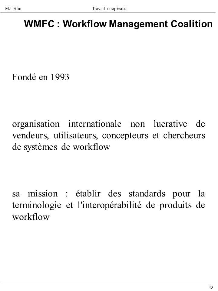 MJ. BlinTravail coopératif 43 WMFC : Workflow Management Coalition Fondé en 1993 organisation internationale non lucrative de vendeurs, utilisateurs,