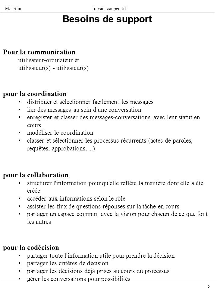 MJ. BlinTravail coopératif 5 Besoins de support Pour la communication utilisateur-ordinateur et utilisateur(s) - utilisateur(s) pour la coordination d