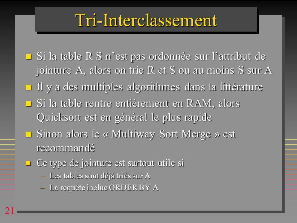 21 Tri-InterclassementTri-Interclassement n Si la table R S nest pas ordonnée sur lattribut de jointure A, alors on trie R et S ou au moins S sur A n