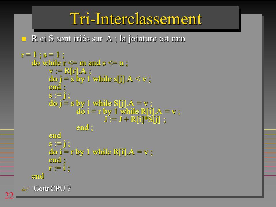 22 Tri-InterclassementTri-Interclassement n R et S sont triés sur A ; la jointure est m:n r = 1 ; s = 1 ; do while r <= m and s <= n ; v := R[r].A ; d