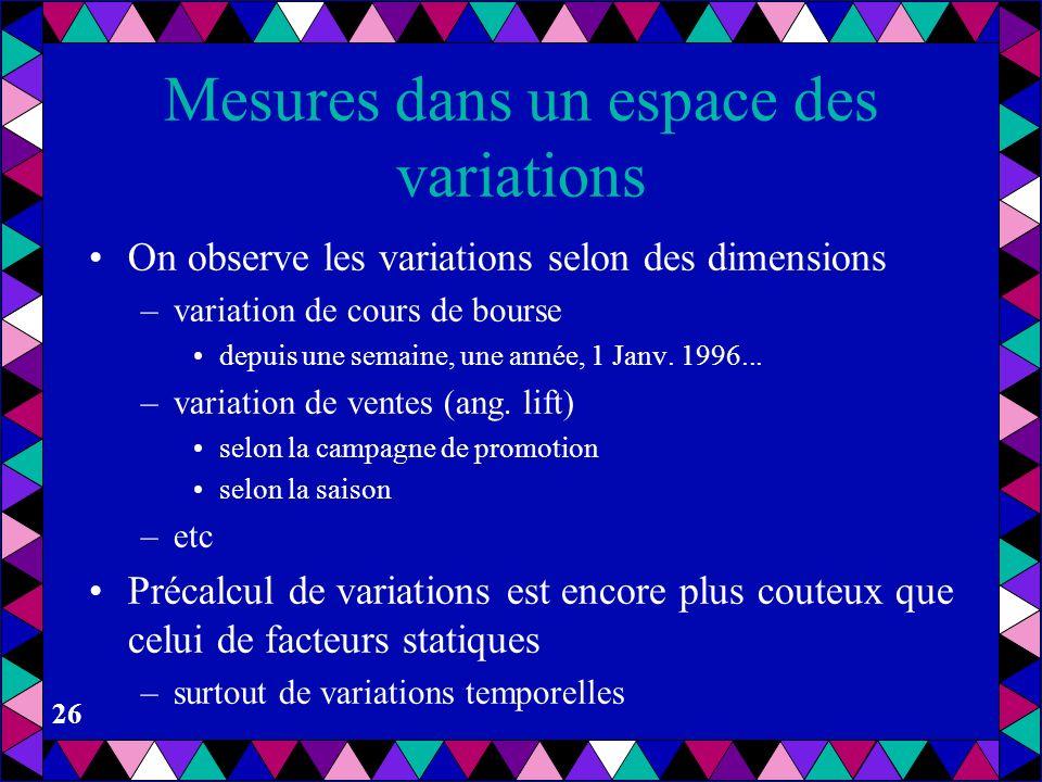 25 Data Mining dans un espace des influences Ceci conduit au problèmes d'inférence de règles –la logique –BDs actives –BD de connaissances –BDs déduct