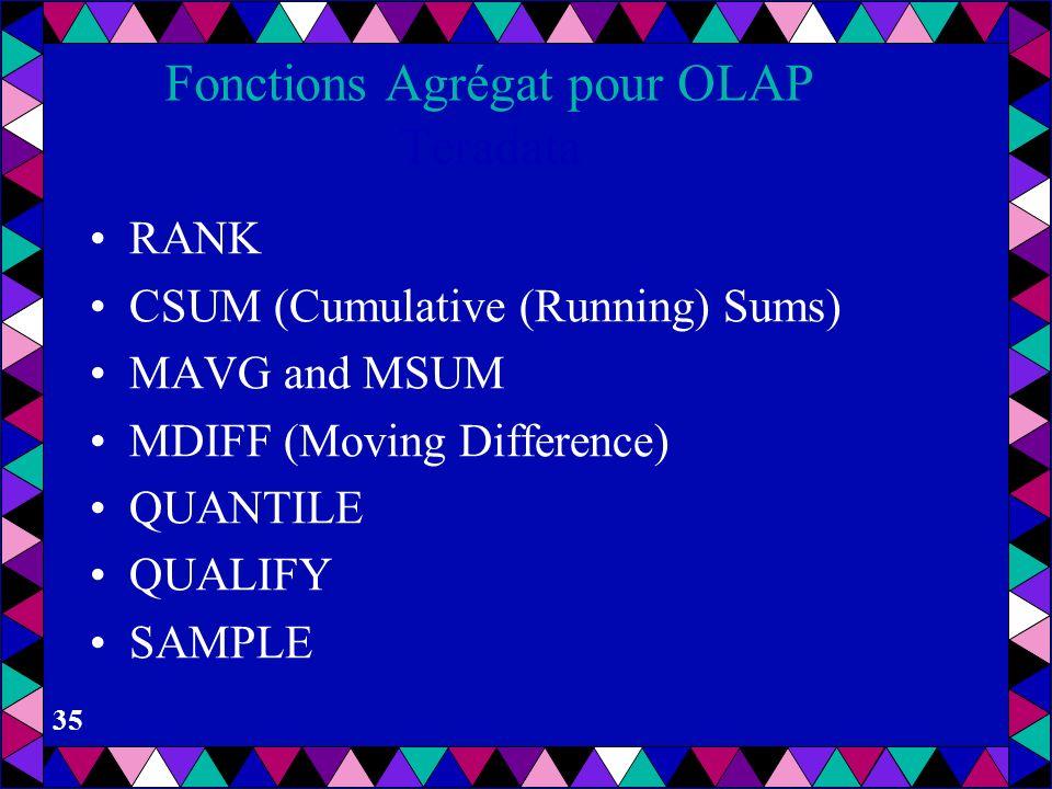 34 Fonctions Agrégat pour OLAP DB2 Fonctions spécifiques à DB2 Data Warehouse Center: –Analyse de la variance (ANOVA) Distributions de Fisher-F Valeur