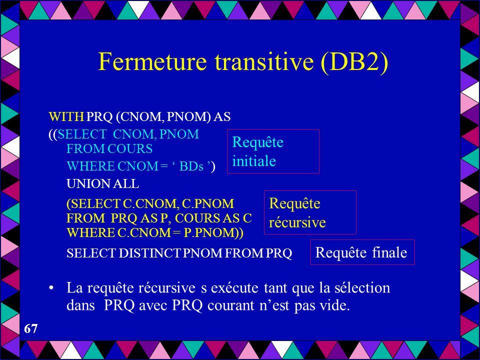 66 Fermeture transitive (DB2) Considère la table COURS (CNOM, PNOM, NMIN) contenant les cours et leur pré-requis avec les notes minimales pour l admis
