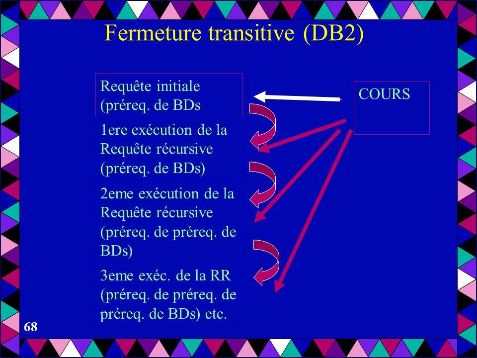 67 Fermeture transitive (DB2) WITH PRQ (CNOM, PNOM) AS ((SELECT CNOM, PNOM FROM COURS WHERE CNOM = BDs ) UNION ALL (SELECT C.CNOM, C.PNOM FROM PRQ AS