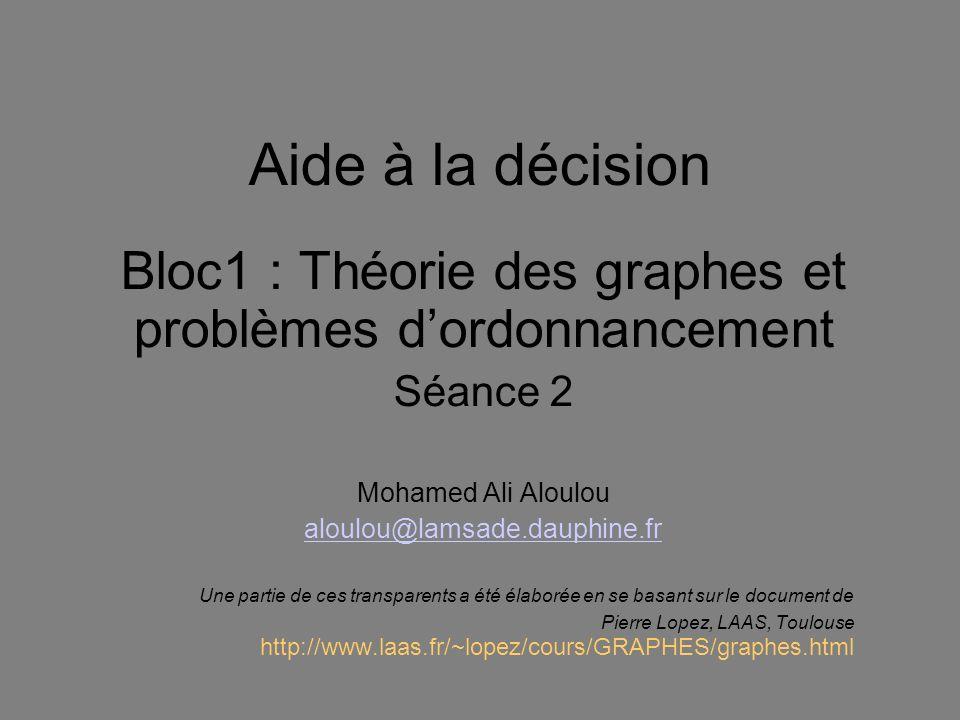 Aide à la décision Bloc1 : Théorie des graphes et problèmes dordonnancement Séance 2 Mohamed Ali Aloulou aloulou@lamsade.dauphine.fr Une partie de ces