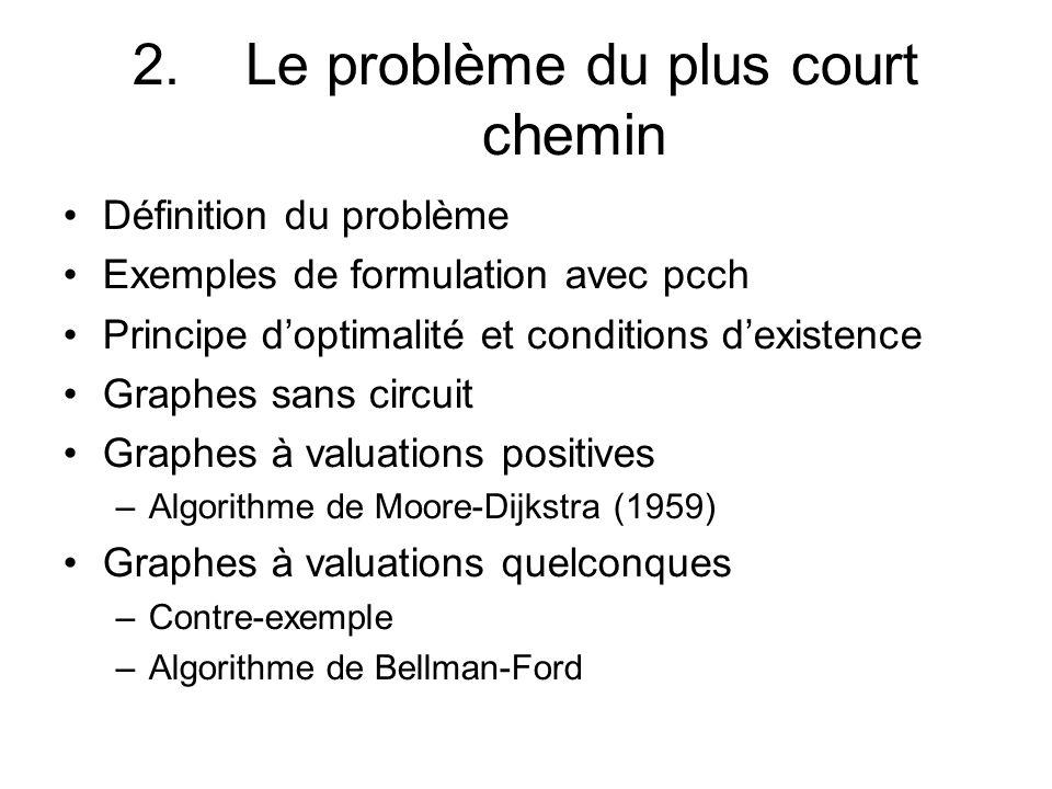 2. Le problème du plus court chemin Définition du problème Exemples de formulation avec pcch Principe doptimalité et conditions dexistence Graphes san