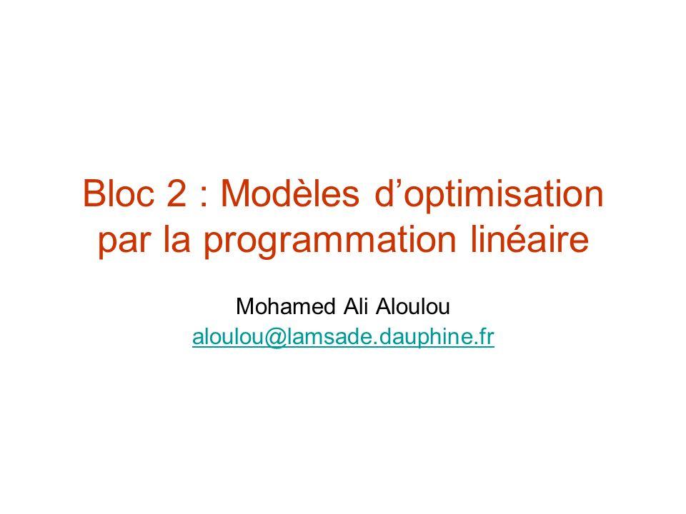 Bloc 2 : Modèles doptimisation par la programmation linéaire Mohamed Ali Aloulou aloulou@lamsade.dauphine.fr