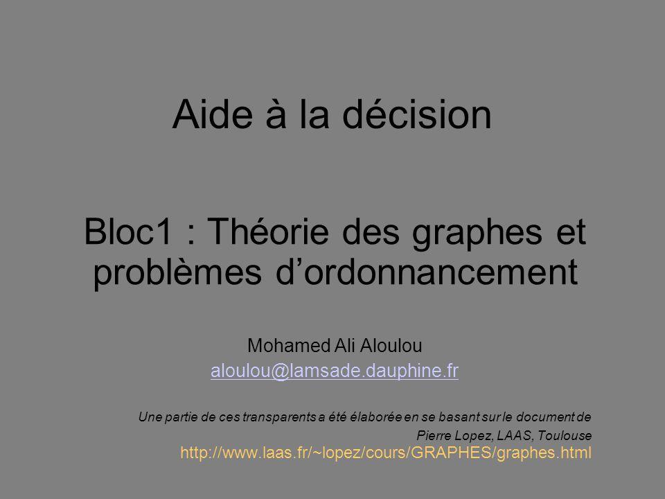 Aide à la décision Bloc1 : Théorie des graphes et problèmes dordonnancement Mohamed Ali Aloulou aloulou@lamsade.dauphine.fr Une partie de ces transpar