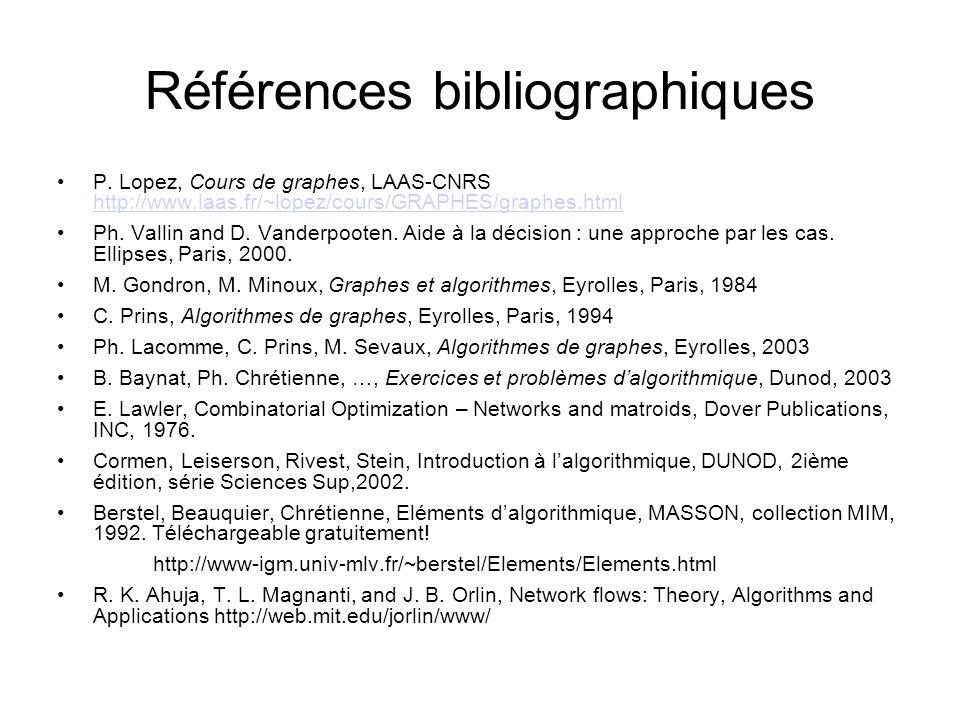 Références bibliographiques P. Lopez, Cours de graphes, LAAS-CNRS http://www.laas.fr/~lopez/cours/GRAPHES/graphes.html http://www.laas.fr/~lopez/cours