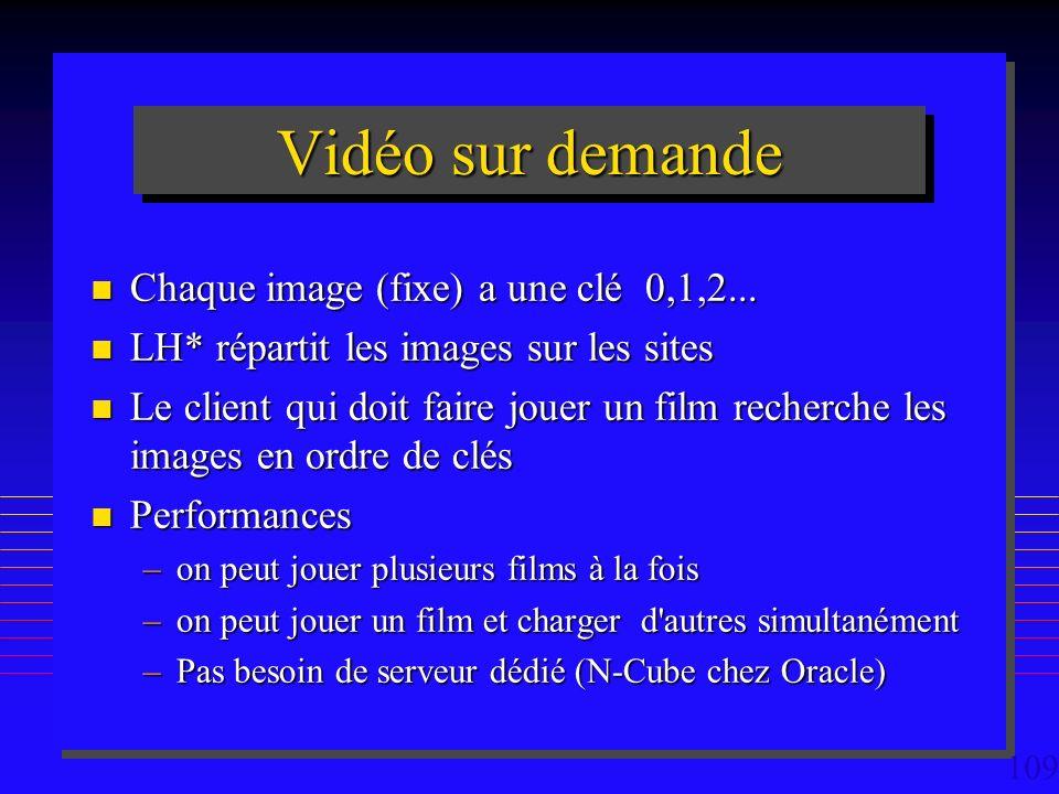 109 Vidéo sur demande n Chaque image (fixe) a une clé 0,1,2...