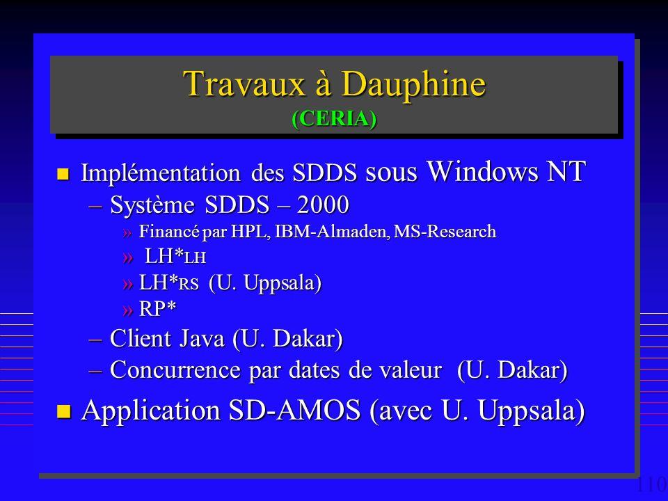 110 Travaux à Dauphine (CERIA) n Implémentation des SDDS sous Windows NT –Système SDDS – 2000 »Financé par HPL, IBM-Almaden, MS-Research » LH* LH »LH* RS (U.