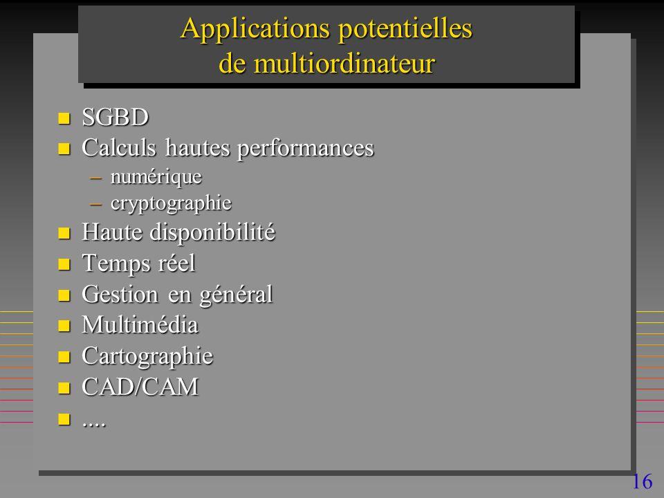 16 Applications potentielles de multiordinateur n SGBD n Calculs hautes performances –numérique –cryptographie n Haute disponibilité n Temps réel n Gestion en général n Multimédia n Cartographie n CAD/CAM n....