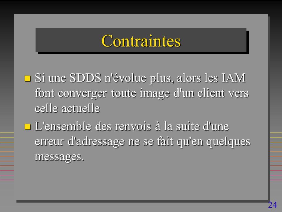 24 ContraintesContraintes n Si une SDDS n évolue plus, alors les IAM font converger toute image d un client vers celle actuelle n L ensemble des renvois à la suite d une erreur d adressage ne se fait qu en quelques messages.