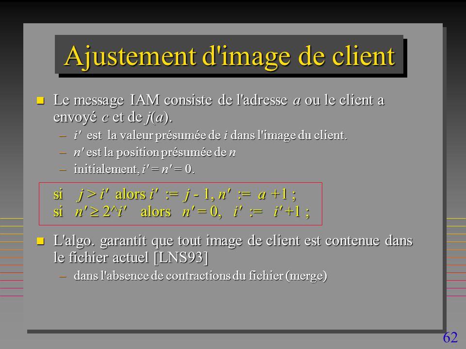 62 Ajustement d image de client n Le message IAM consiste de l adresse a ou le client a envoyé c et de j(a).