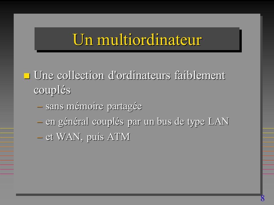 8 Un multiordinateur n Une collection d ordinateurs faiblement couplés –sans mémoire partagée –en général couplés par un bus de type LAN –et WAN, puis ATM