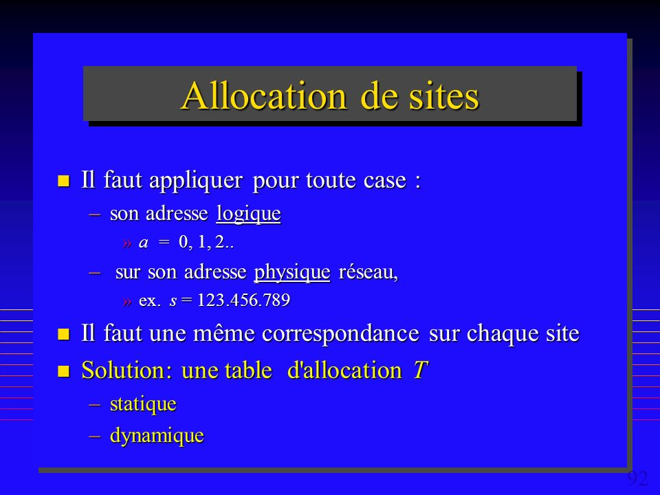 92 Allocation de sites n Il faut appliquer pour toute case : –son adresse logique »a = 0, 1, 2..
