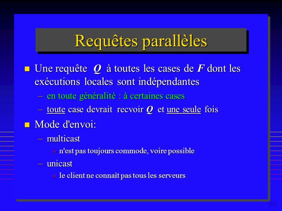 96 Requêtes parallèles n Une requête Q à toutes les cases de F dont les exécutions locales sont indépendantes –en toute généralité : à certaines cases –toute case devrait recvoir Q et une seule fois n Mode d envoi: –multicast »n est pas toujours commode, voire possible –unicast »le client ne connaît pas tous les serveurs