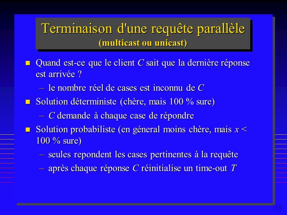 98 Terminaison d une requête parallèle (multicast ou unicast) n Quand est-ce que le client C sait que la dernière réponse est arrivée .