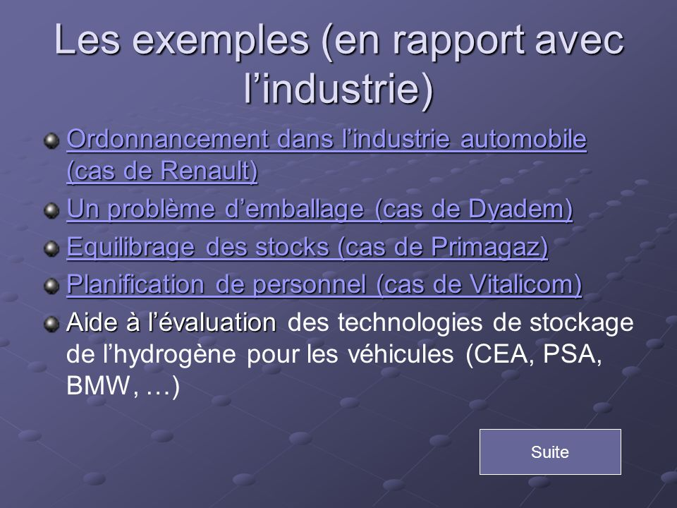 Les exemples (en rapport avec lindustrie) Ordonnancement dans lindustrie automobile (cas de Renault) Ordonnancement dans lindustrie automobile (cas de
