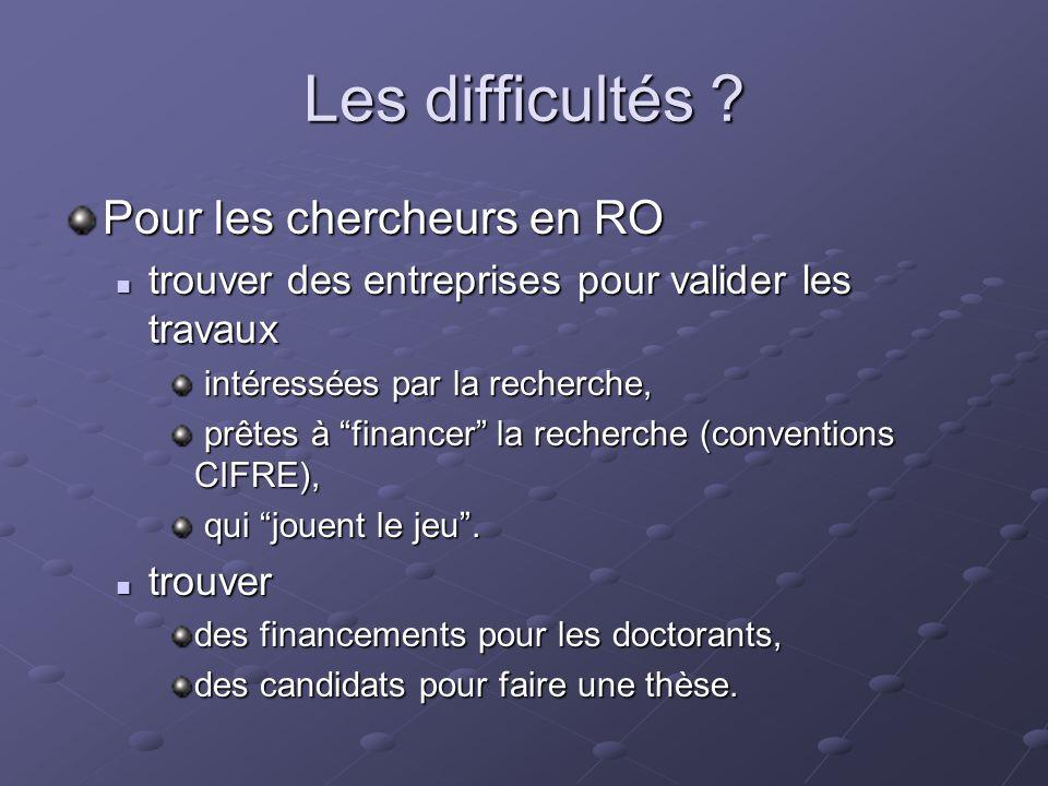 Les difficultés ? Pour les chercheurs en RO trouver des entreprises pour valider les travaux trouver des entreprises pour valider les travaux intéress