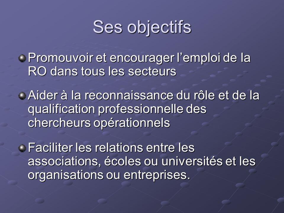 Ses objectifs Promouvoir et encourager lemploi de la RO dans tous les secteurs Aider à la reconnaissance du rôle et de la qualification professionnell