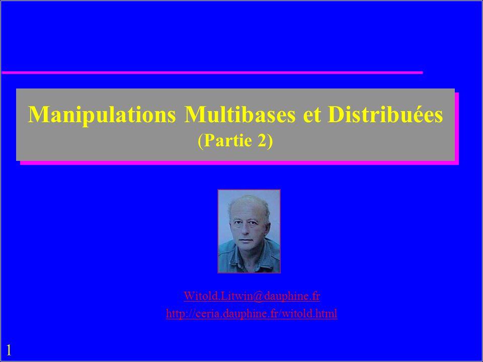 32 Mots-clés et Fonctions Agrégats u Mots-clés et Fonctions Agrégats de SQL –par définition »DISTINCT, GROUP BY, ORDER BY »COUNT, AVG, SUM..