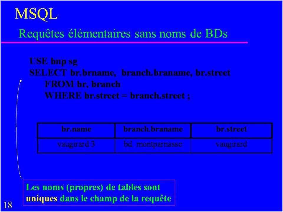 18 MSQL Requêtes élémentaires sans noms de BDs Les noms (propres) de tables sont uniques dans le champ de la requête