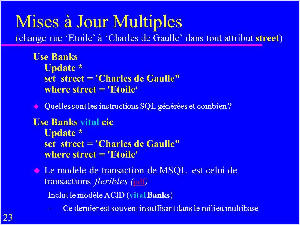 23 Mises à Jour Multiples (change rue Etoile à Charles de Gaulle dans tout attribut street) Use Banks Update * set street = Charles de Gaulle where street = Etoile u Quelles sont les instructions SQL générées et combien .