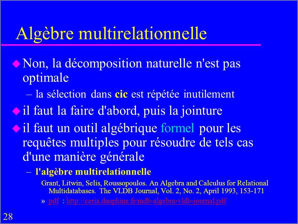 28 Algèbre multirelationnelle u Non, la décomposition naturelle n est pas optimale –la sélection dans cic est répétée inutilement u il faut la faire d abord, puis la jointure u il faut un outil algébrique formel pour les requêtes multiples pour résoudre de tels cas d une manière générale –l algèbre multirelationnelle Grant, Litwin, Selis, Roussopoulos.