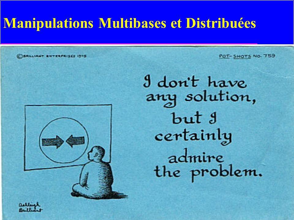 54 Exemples MsAccess u Source DB: MsAccess SELECT [Customer ID] FROM Customers IN MYDATA.MDB WHERE [Customer ID] Like A* ; u Source DB: Paradox SELECT [CustomerID] FROM Customers IN C:\PARADOX\DATA\SALES Paradox 4.x; WHERE CustomerID Like A* ; u Tout transfert de données d une/vers BD non-MsAccess ou logiciel compatible OLE comporte les conversions de représentation de données –Hétérogénéité sémantique oblige