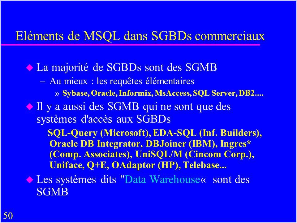 50 Eléments de MSQL dans SGBDs commerciaux u La majorité de SGBDs sont des SGMB –Au mieux : les requêtes élémentaires »Sybase, Oracle, Informix, MsAccess, SQL Server, DB2....