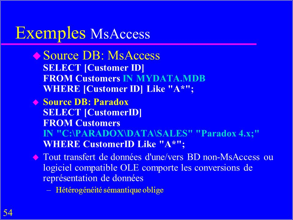 54 Exemples MsAccess u Source DB: MsAccess SELECT [Customer ID] FROM Customers IN MYDATA.MDB WHERE [Customer ID] Like A* ; u Source DB: Paradox SELECT [CustomerID] FROM Customers IN C:\PARADOX\DATA\SALES Paradox 4.x; WHERE CustomerID Like A* ; u Tout transfert de données d une/vers BD non-MsAccess ou logiciel compatible OLE comporte les conversions de représentation de données –Hétérogénéité sémantique oblige