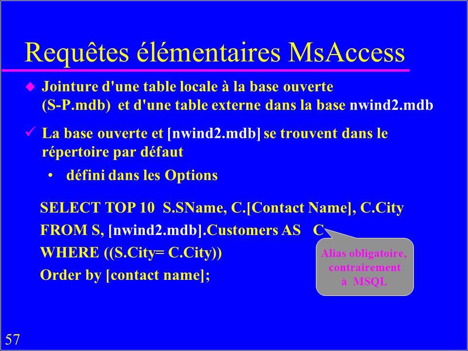 57 u Jointure d une table locale à la base ouverte (S-P.mdb) et d une table externe dans la base nwind2.mdb La base ouverte et [nwind2.mdb] se trouvent dans le répertoire par défaut défini dans les Options Requêtes élémentaires MsAccess Alias obligatoire, contrairement à MSQL SELECT TOP 10 S.SName, C.[Contact Name], C.City FROM S, [nwind2.mdb].Customers AS C WHERE ((S.City= C.City)) Order by [contact name];