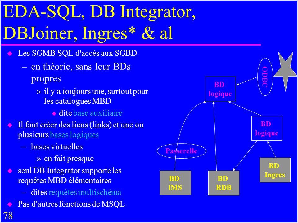 78 EDA-SQL, DB Integrator, DBJoiner, Ingres* & al u Les SGMB SQL d accès aux SGBD –en théorie, sans leur BDs propres »il y a toujours une, surtout pour les catalogues MBD u dite base auxiliaire u Il faut créer des liens (links) et une ou plusieurs bases logiques –bases virtuelles »en fait presque u seul DB Integrator supporte les requêtes MBD élémentaires –dites requêtes multischéma u Pas d autres fonctions de MSQL BD logique BD logique BD lMS BD RDB BD Ingres Passerelle ODBC