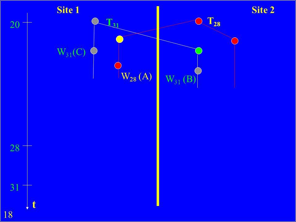 18 T 31 T 28 20 W 31 (C) W 28 (A) 28 31 W 31 (B) Site 1Site 2 t