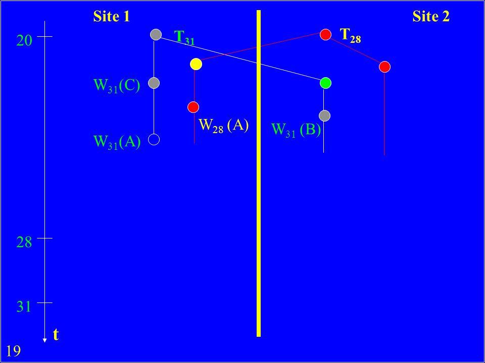 19 T 31 T 28 20 W 31 (C) W 31 (A) W 28 (A) 28 31 W 31 (B) Site 1Site 2 t